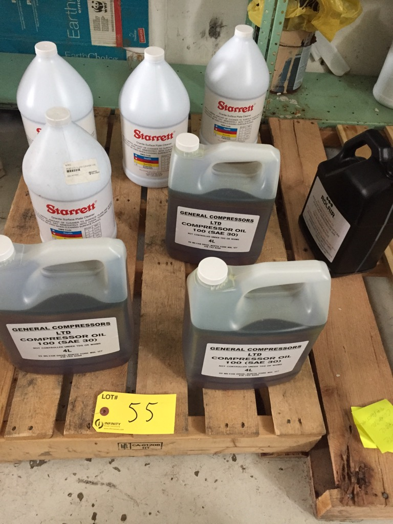Lot 55 - LOT ASST. COMPRESSOR OILS, STARRETT LUBRICANTS, ETC.