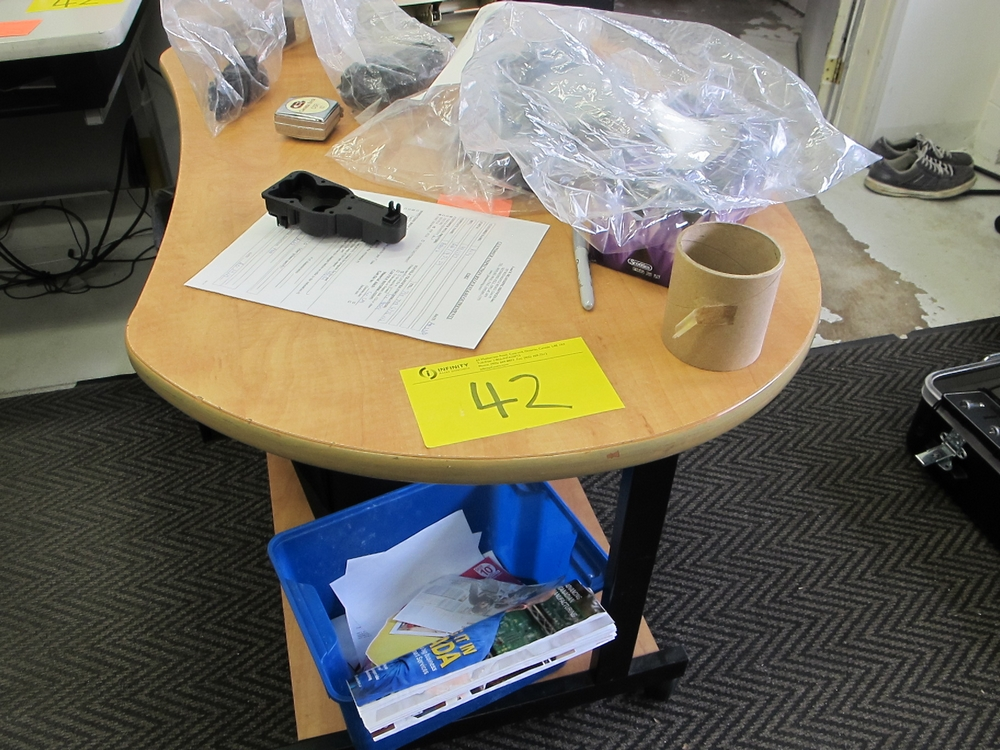 Lot 42 - CHAIR/DESK, CABINET, TABLE (NO CONTENTS)