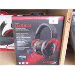 Cloud 2 pro gaming headset, audio tested working, mic untested. Boxed.