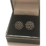 SILVER 1ct BLACK DIAMOND EARRINGS