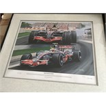 LEWIS HAMILTON SIGNED PRINT OF 2007 CANADIAN GRAND PRIX WITH C.O.A