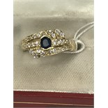 SAPPHIRE 0.70ct APPROX & DIAMOND 1.20ct APPROX MARKED 585