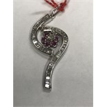 BAGUETTE DIAMOND APPROX 1.30ct & RUBY APPROX 0.50ct PENDANT