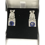 BLUE SAPPHIRE APPROX 3.00ct & DIAMOND 2.00ct APPROX EARRINGS - TESTED AS PLATINUM