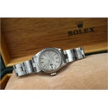 ROLEX OYSTER PERPETUAL DATE - STEEL with SILVER TAPESTRY DIAL!