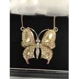 BEAUTIFUL BUTTERFLY PENDANT SET WITH APPROX 1.20cts OF DIAMONDS