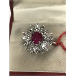 RUBY APPROX 1.50ct & DIAMOND APPROX 1.30ct RING MARKED 750