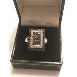 14k WHITE GOLD BLACK DIAMOND CLUSTER RING