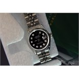 *Rolex DateJust* - Black Diamond Dial (Ladies, Steel)