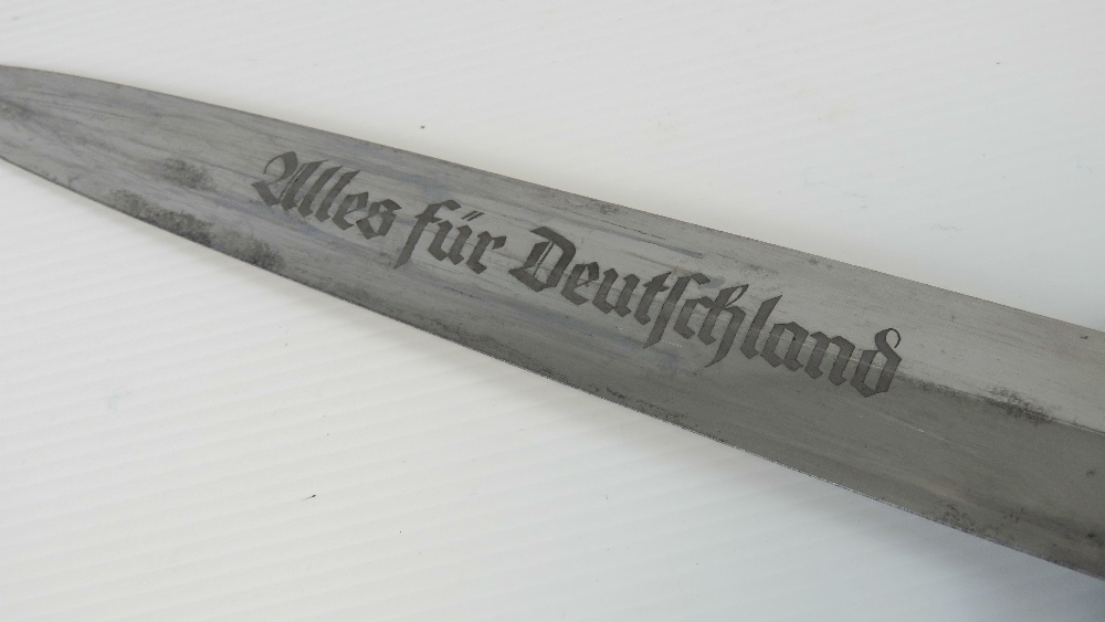 Lot 10 - A WWII German SA Officers dagger, engraved 'Alles Fur Deutschland' to 22cm blade, marked RZM M7/2,