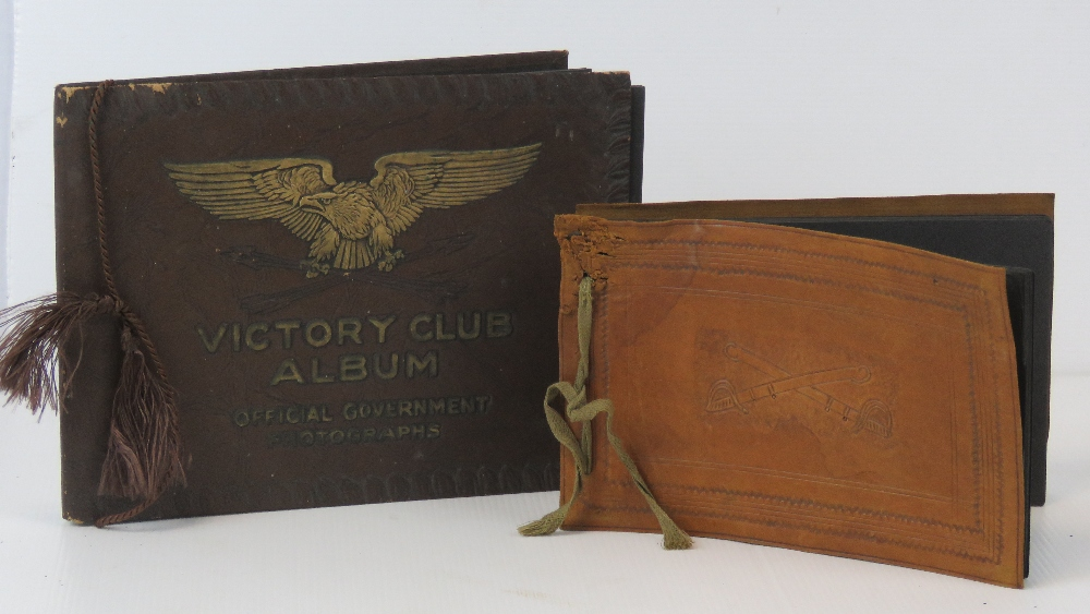 Two unused WWII US military leather covered photo albums,