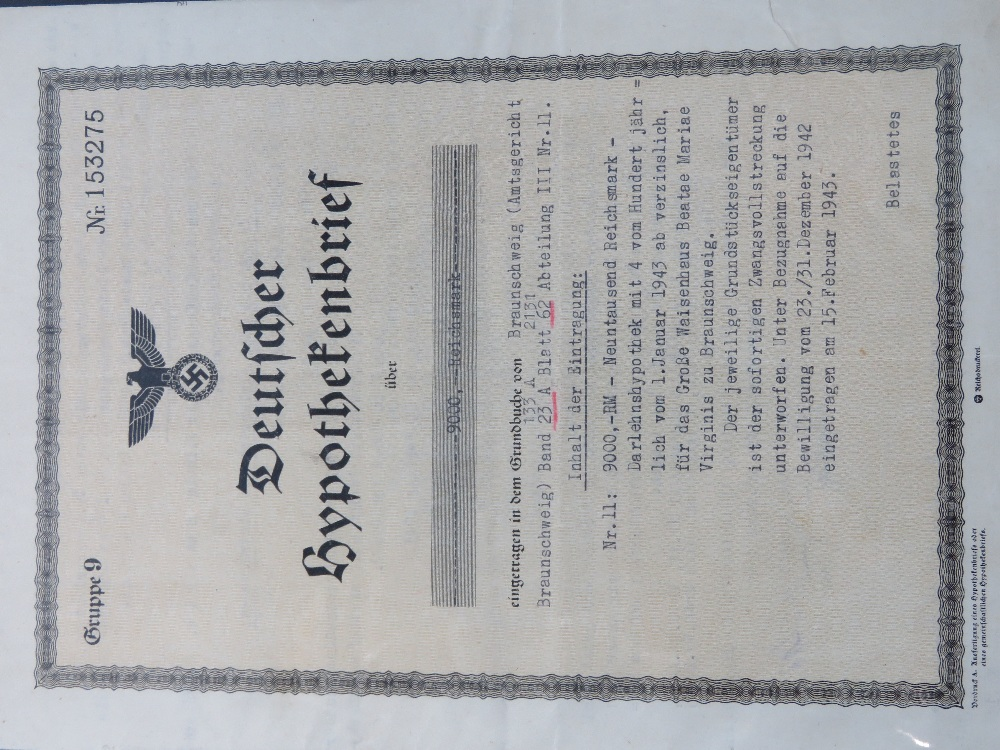 A quantity of WWII German documents and paper ephemera including;