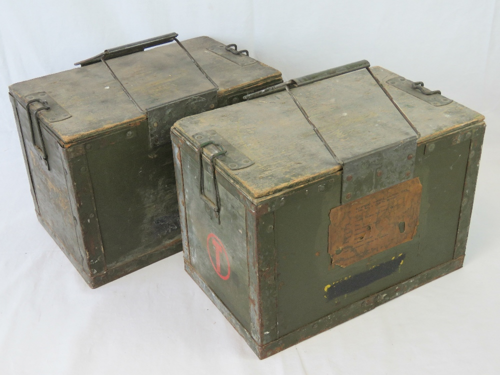 Two WWII British military Paratroopers Sten MK5 drop boxes.