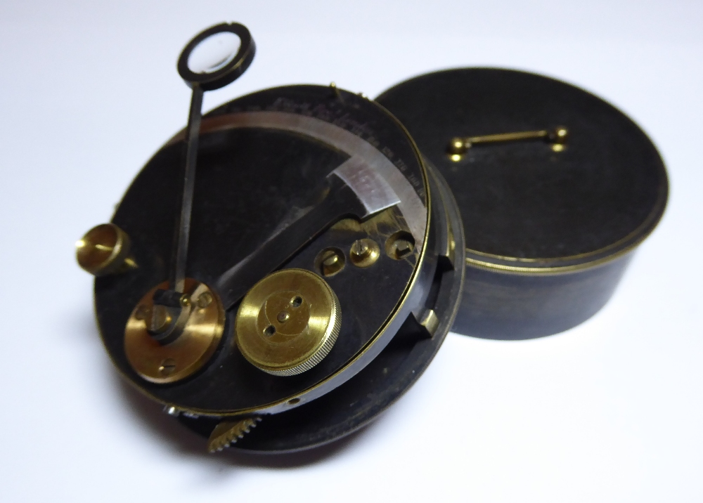 """A 19th Century pocket Sextant by Elliott Brothers, London. Inscribed to outer case """"J.D."""