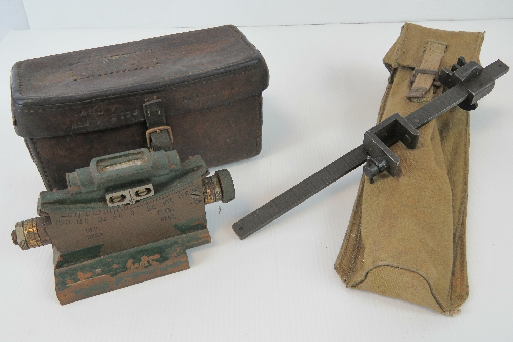 Lot 3 - Two British military Vickers gun sights; WWII Clinometer Mk2 in WWI leather pouch,