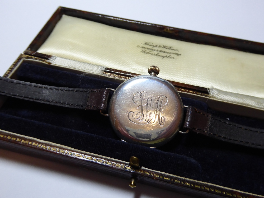 """Lot 11 - A WW1 British Military """"Trench"""" watch. 34mm silver case, London import mark 1914."""