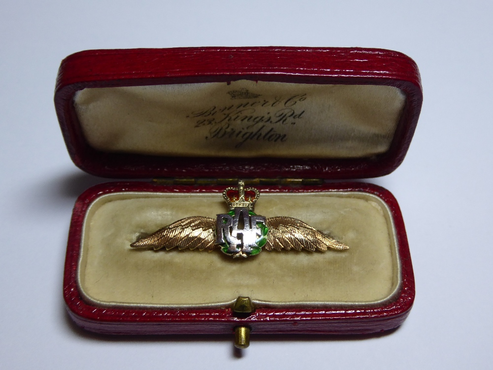 Lot 8 - An Enamelled 9ct gold RAF Sweetheart brooch, marked Birmingham 1954. Width 40mm approx. Weight 3.