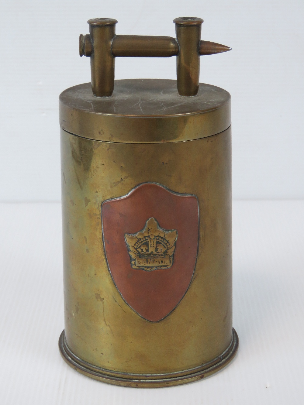 A trench Art shell case lidded pot having Royal Army Services Corps and Canadian Military badges - Image 3 of 5