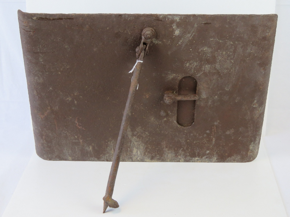 Lot 45 - A WWI German Wehrmacht trench snipers shield having rare original support strut and shutter flap.