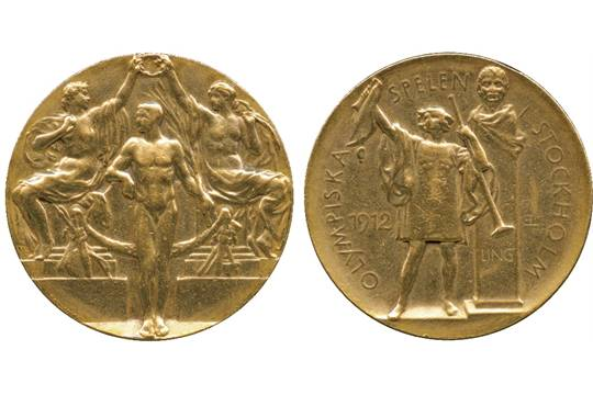 COMMEMORATIVE MEDALS, Medals by Subject, Sport, Olympic Games, Sweden,  Stockholm 1912, Gold Winne