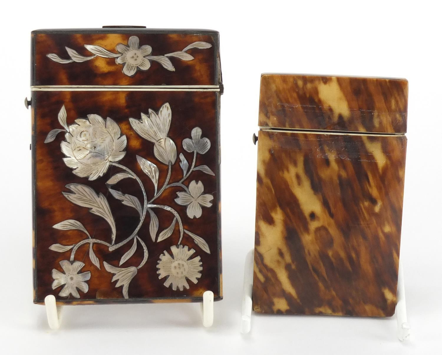 Lot 15 - Two Victorian blonde tortoiseshell calling card cases, one with Mother of Pearl inlay decorated with