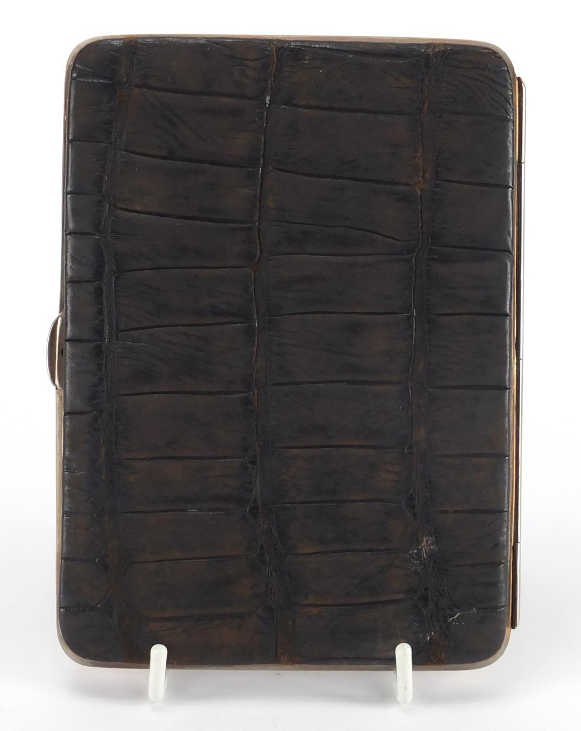 Lot 30 - Edwardian crocodile skin and leather card case with 9ct gold mounts, London 1907, 14.5cm x 10cm :For