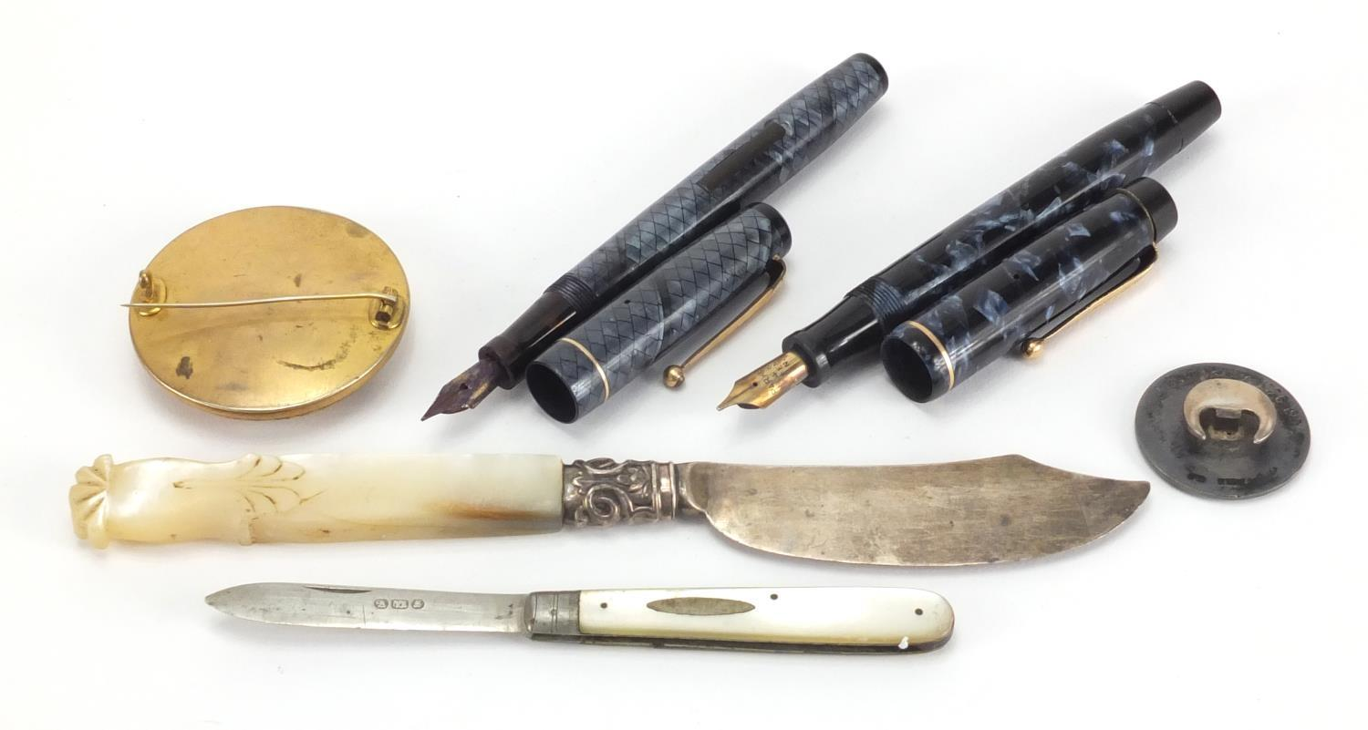 Antique and later objects including Swan self filler blue snake skin fountain pen, Parker Victory - Image 5 of 5