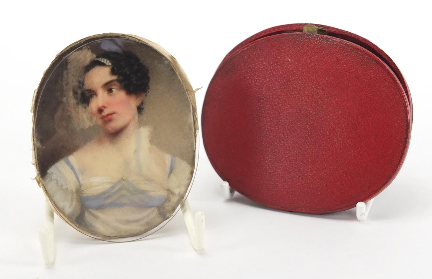 Lot 3 - Attributed to William Haines - Oval Georgian hand painted portrait miniature of J M Herries,