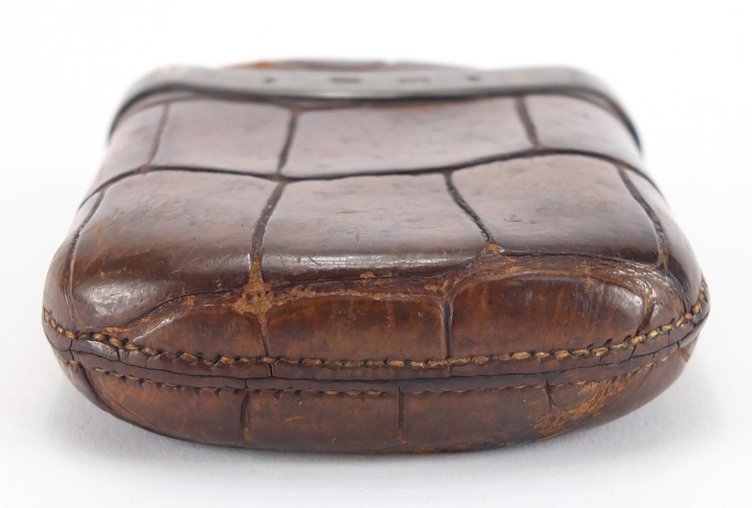 Lot 31 - Victorian crocodile skin cigar case with silver mounts, G. H. J. J. J London 1878, 9cm x 7cm :For