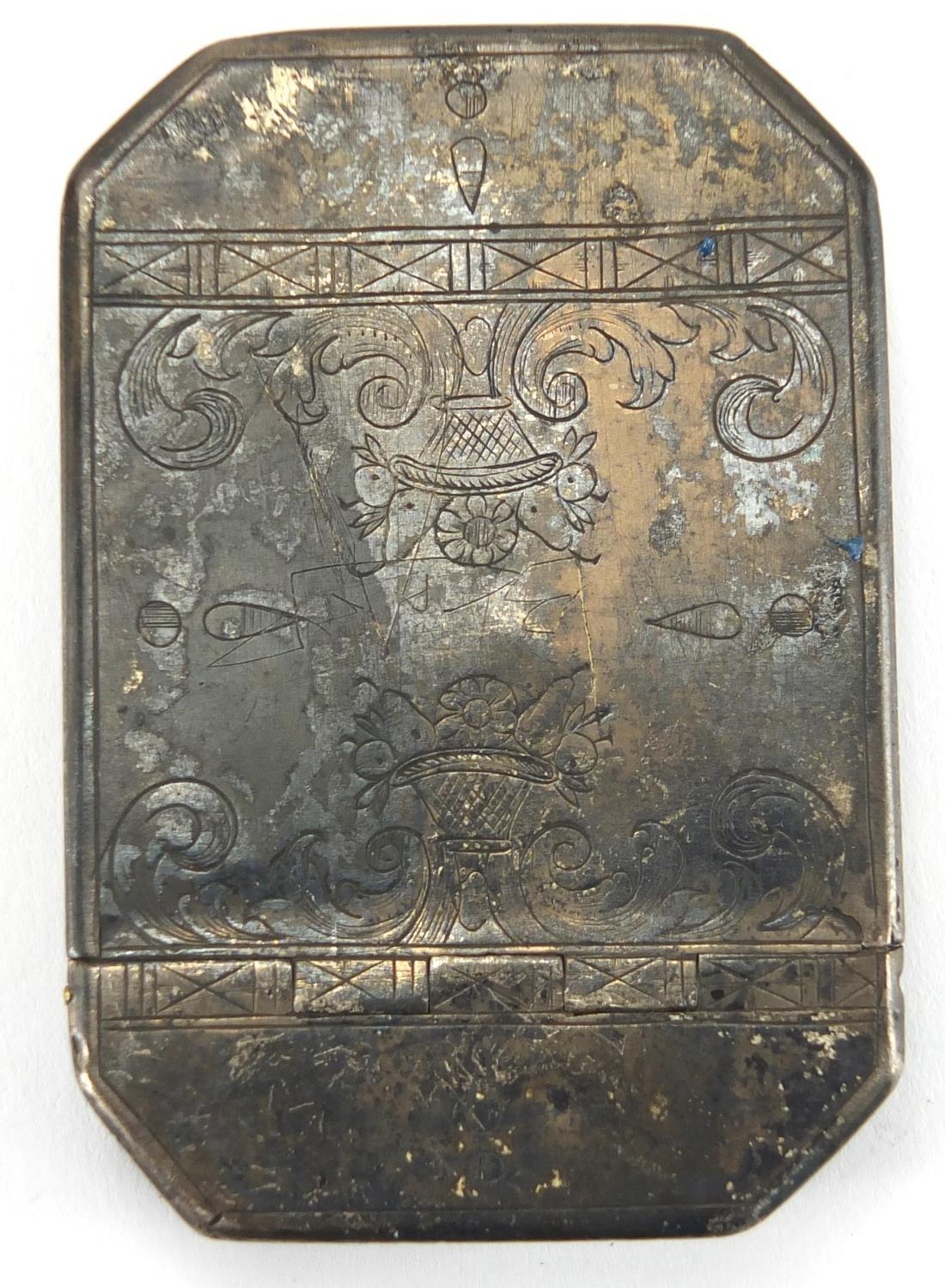 Lot 19 - Antique Continental silver snuff box, the hinged lid with engraved decoration, indistinct