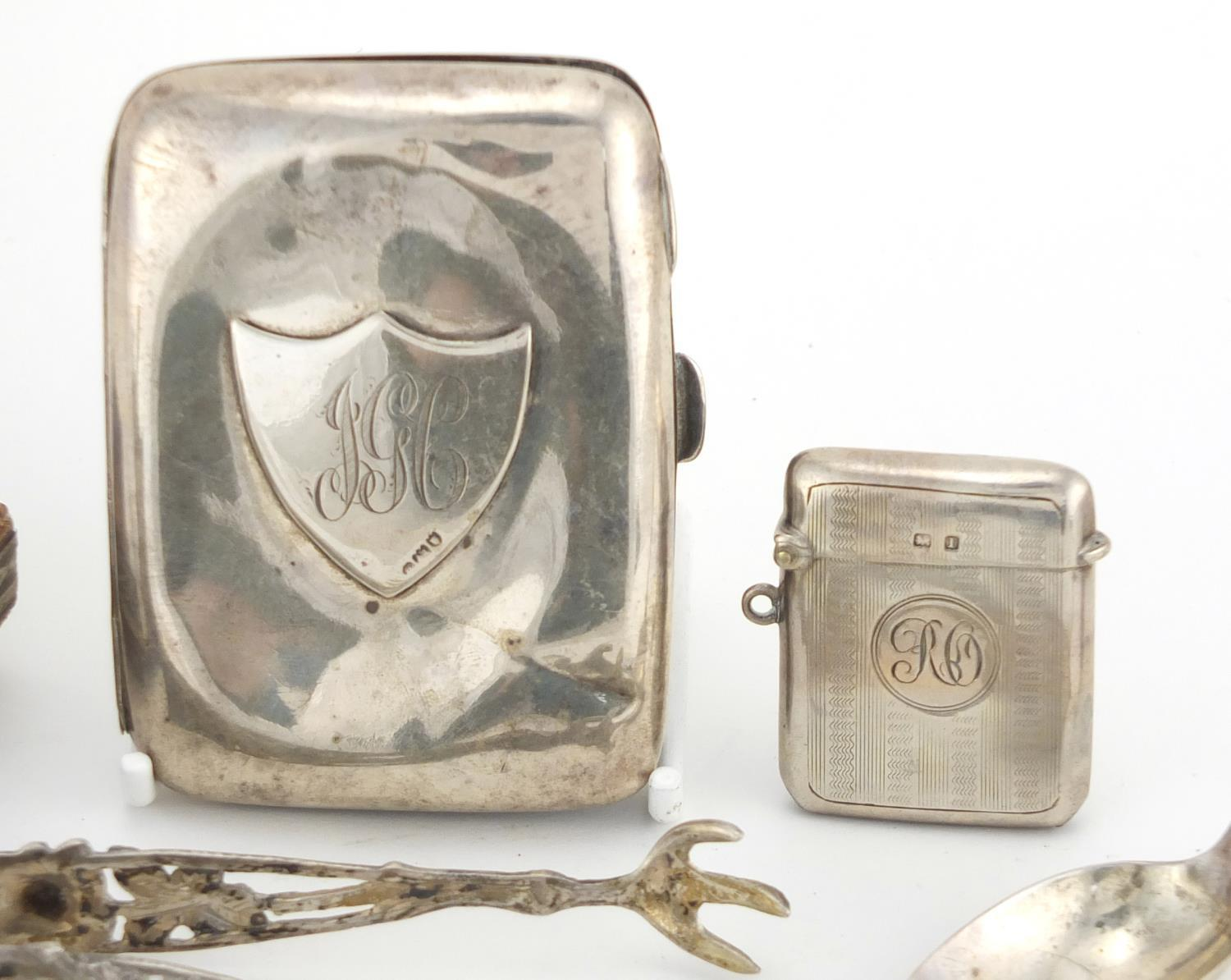 Lot 38 - Victorian fold out sewing necessaire and a group of silver objects including cigarette case, vesta
