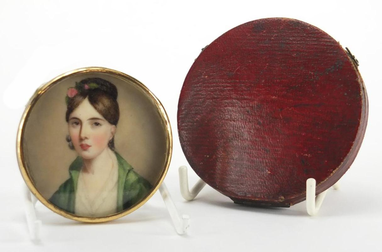 Lot 4 - Georgian hand painted portrait miniature of Miss J Herries, housed in a silk and velvet lined
