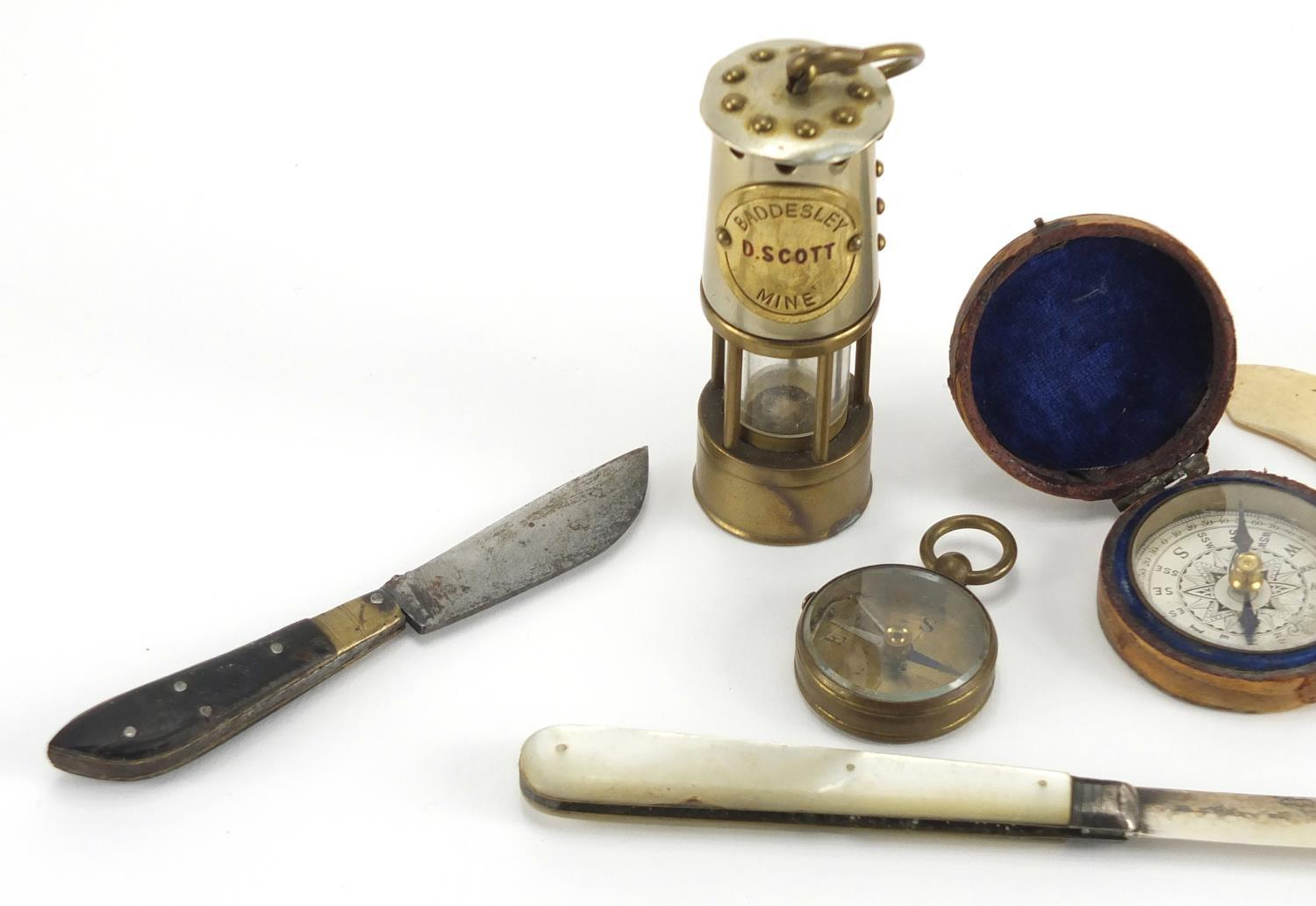 Lot 41 - Antique and later objects including a Victorian silver bladed Mother of Pearl flanked folding
