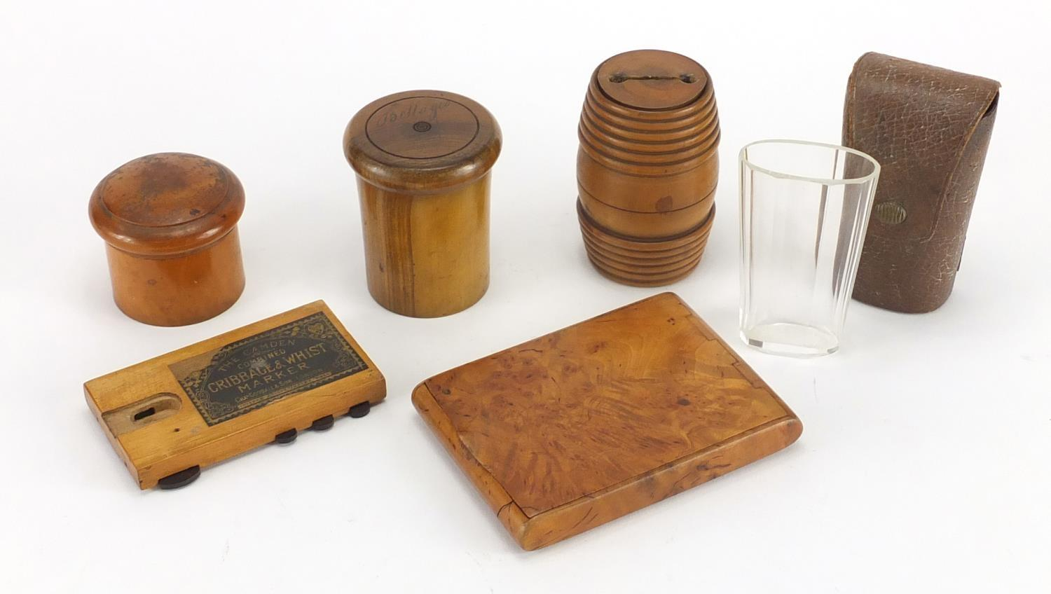 Lot 22 - Mostly antique treen including burr snuff box, whist marker and etched glass beaker housed in an