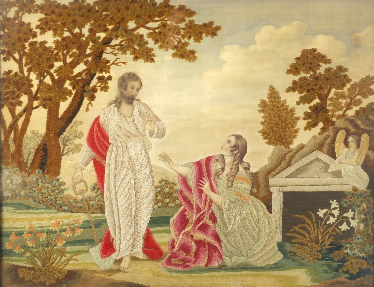 Lot 28 - Georgian silk work panel embroidered with two figures beside an angel, mounted and framed, 49cm x