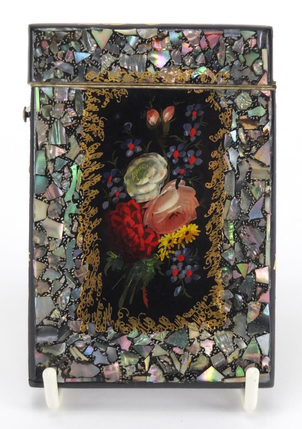 Lot 13 - Victorian Papier-mâché and abalone calling card case, hand painted and gilded with flowers, 10cm