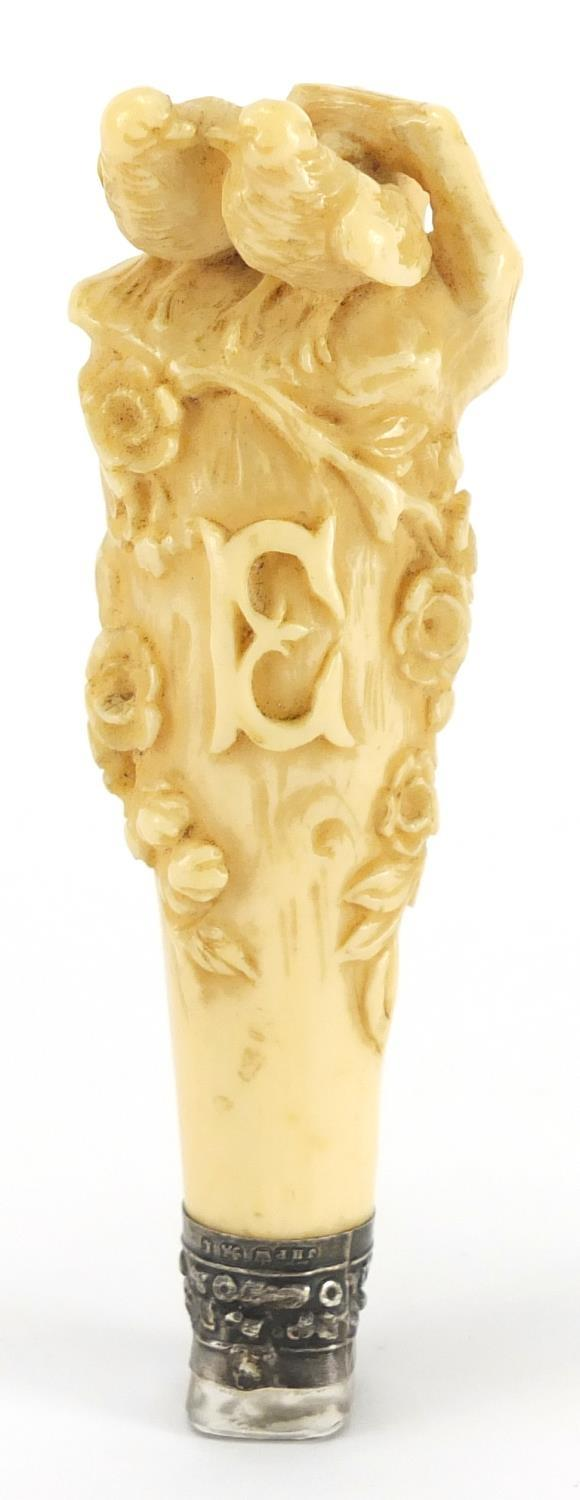 Lot 54 - 19th century ivory handled desk seal with crystal matrix and silver mount, finely carved with two
