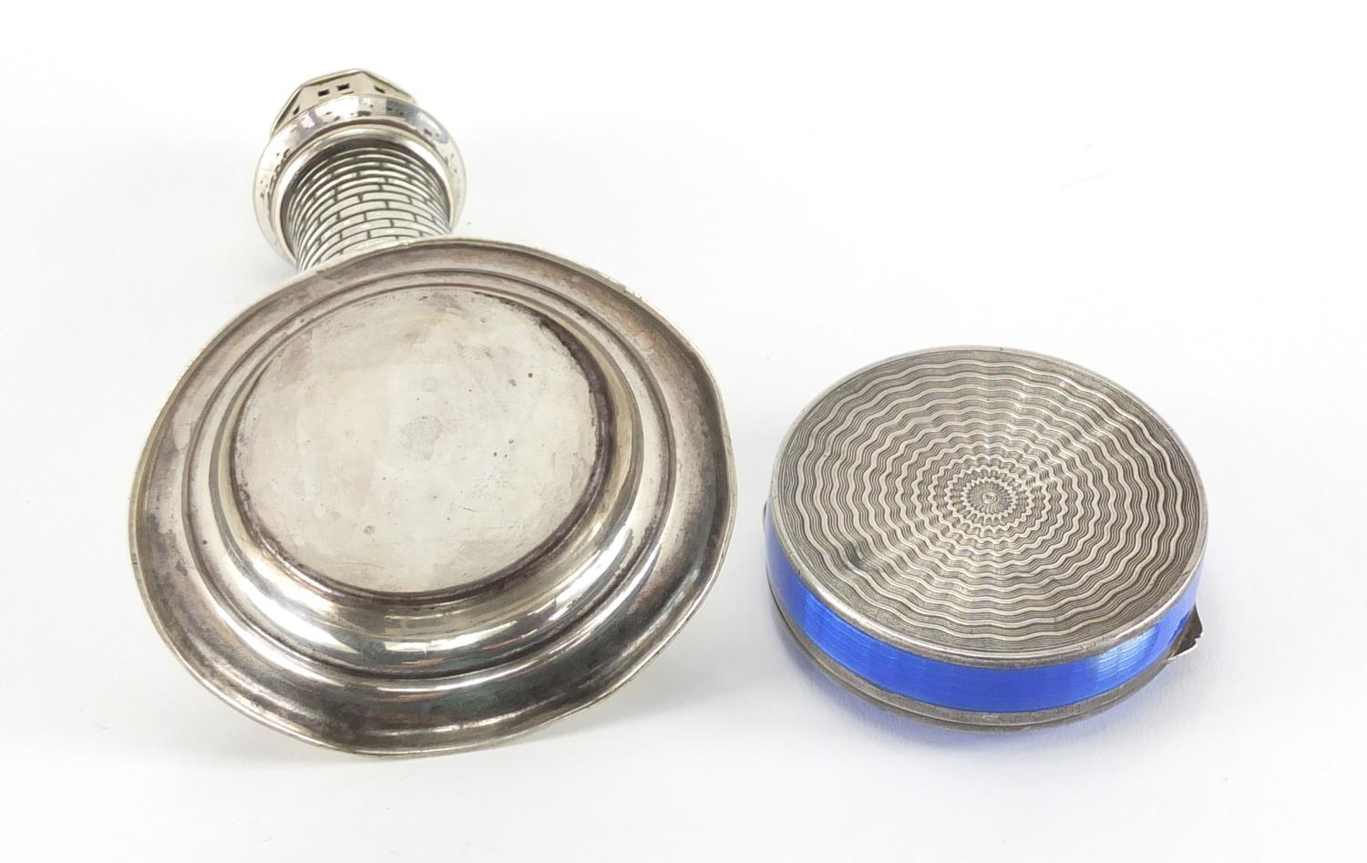 Lot 52 - Circular silver and blue guilloche enamelled trinket and a novelty silver plated caster in the