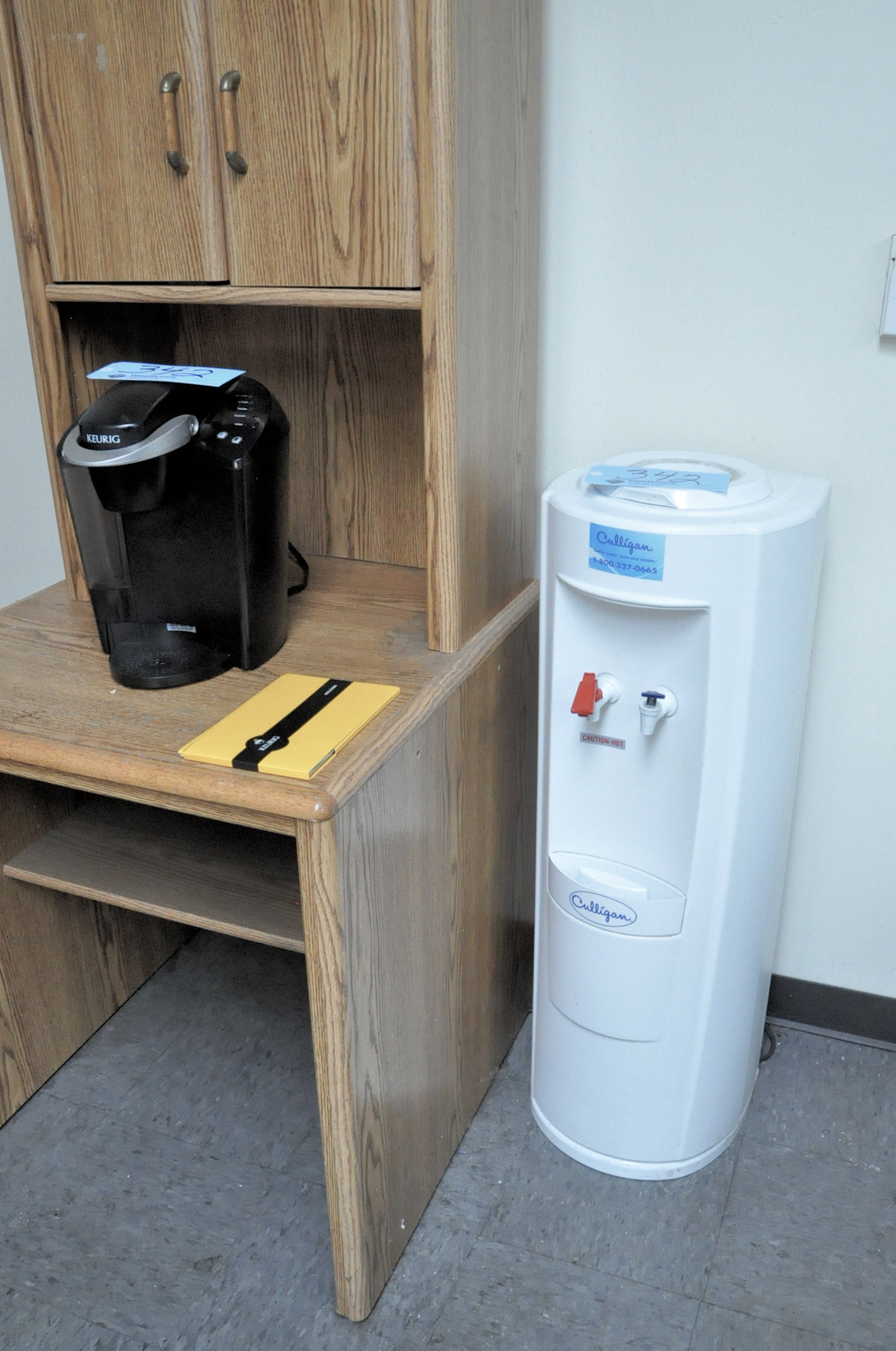 Lot 342 - Lot-Keurig Coffee Maker and Hot/Cold Bottle Water Dispenser with Stand