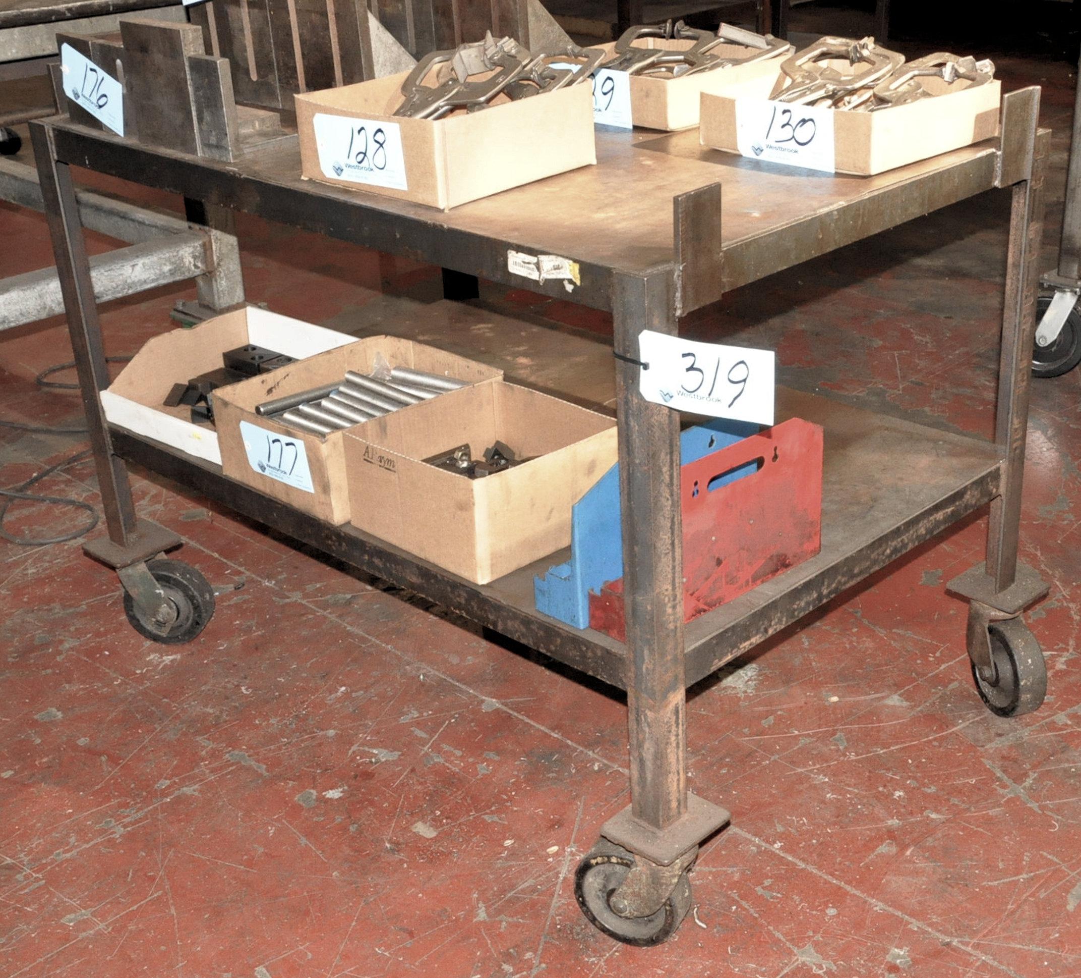 "Lot 319 - 32"" x 50"" Portable Steel Top Cart"