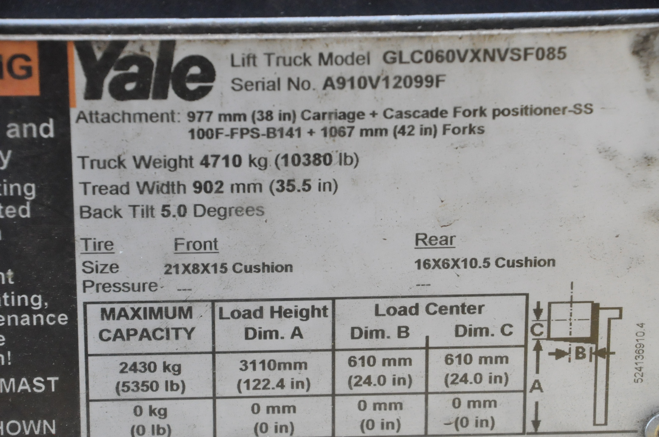 """Yale Model GLCO60VXNVSF085, 5,350-Lbs. x 122"""" Lift Capacity, LP Gas, Solid Tires, 48"""" Forks - Image 4 of 4"""