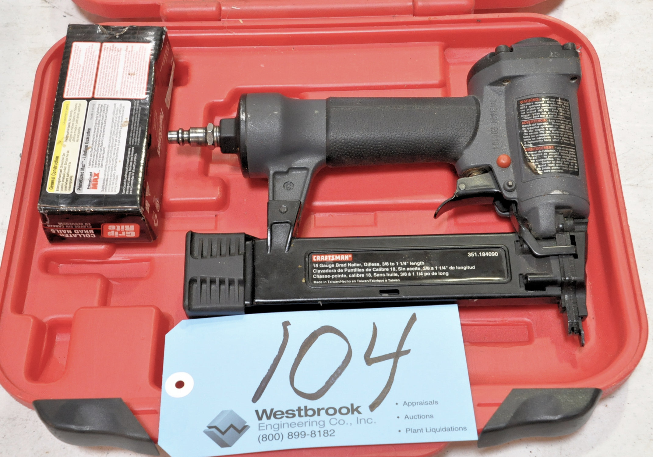 Lot 104 - Craftsman Pneumatic Finish Nailer Gun with Supply and Case