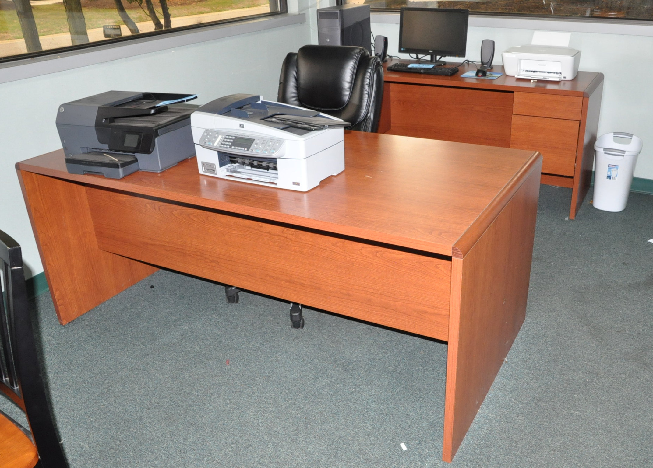 Lot-(2) Desks, Table, (5) Chairs, Pedestal Stand, Dry Erase Board and (2) Wall Prints (No contents)