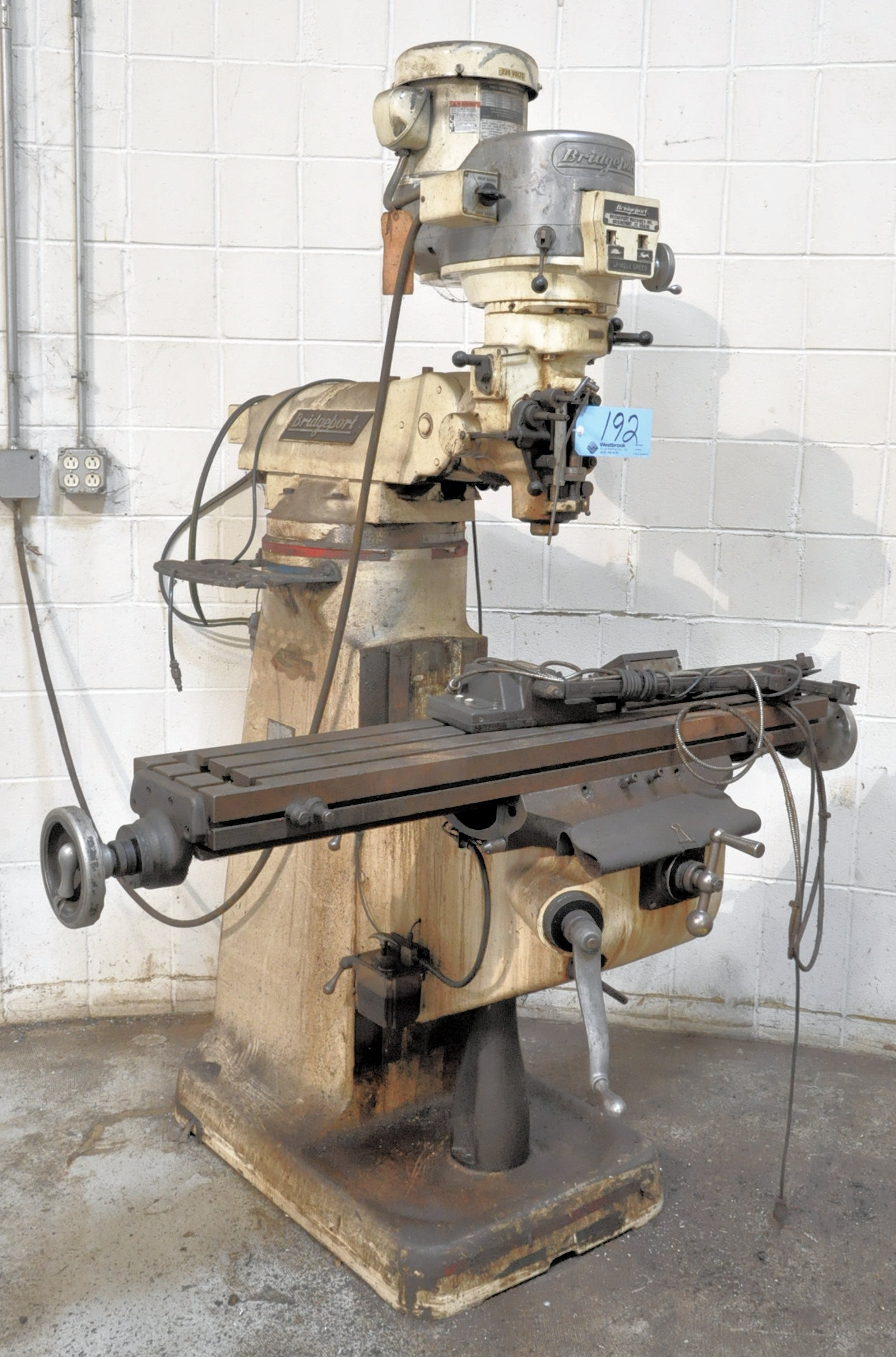 "Bridgeport 2-HP Variable Speed Vertical Milling Machine, 9"" x 48"" Table, Newall Topaz Readouts"