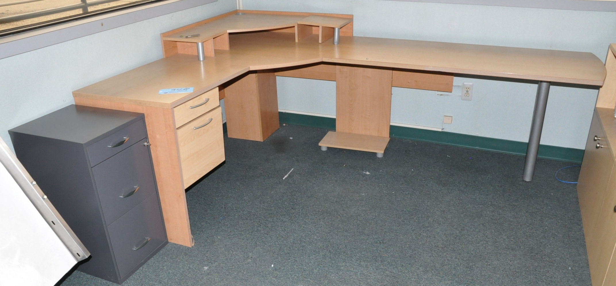 Modular Office Desk System with File Cabinet and Bookcase