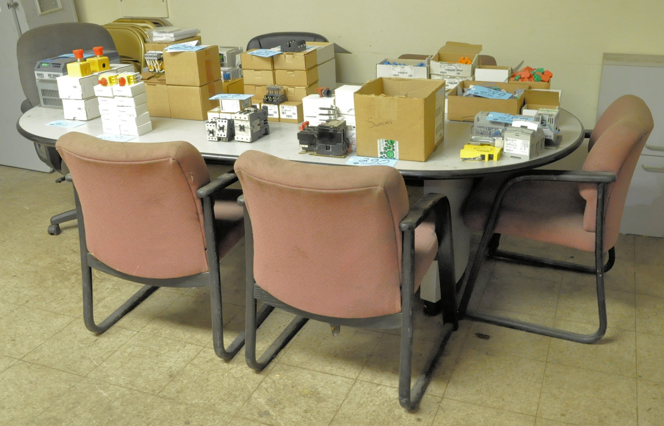 Lot-Table, Desk, File Cabinet, Wood Stand and Chairs, (Contents not included)