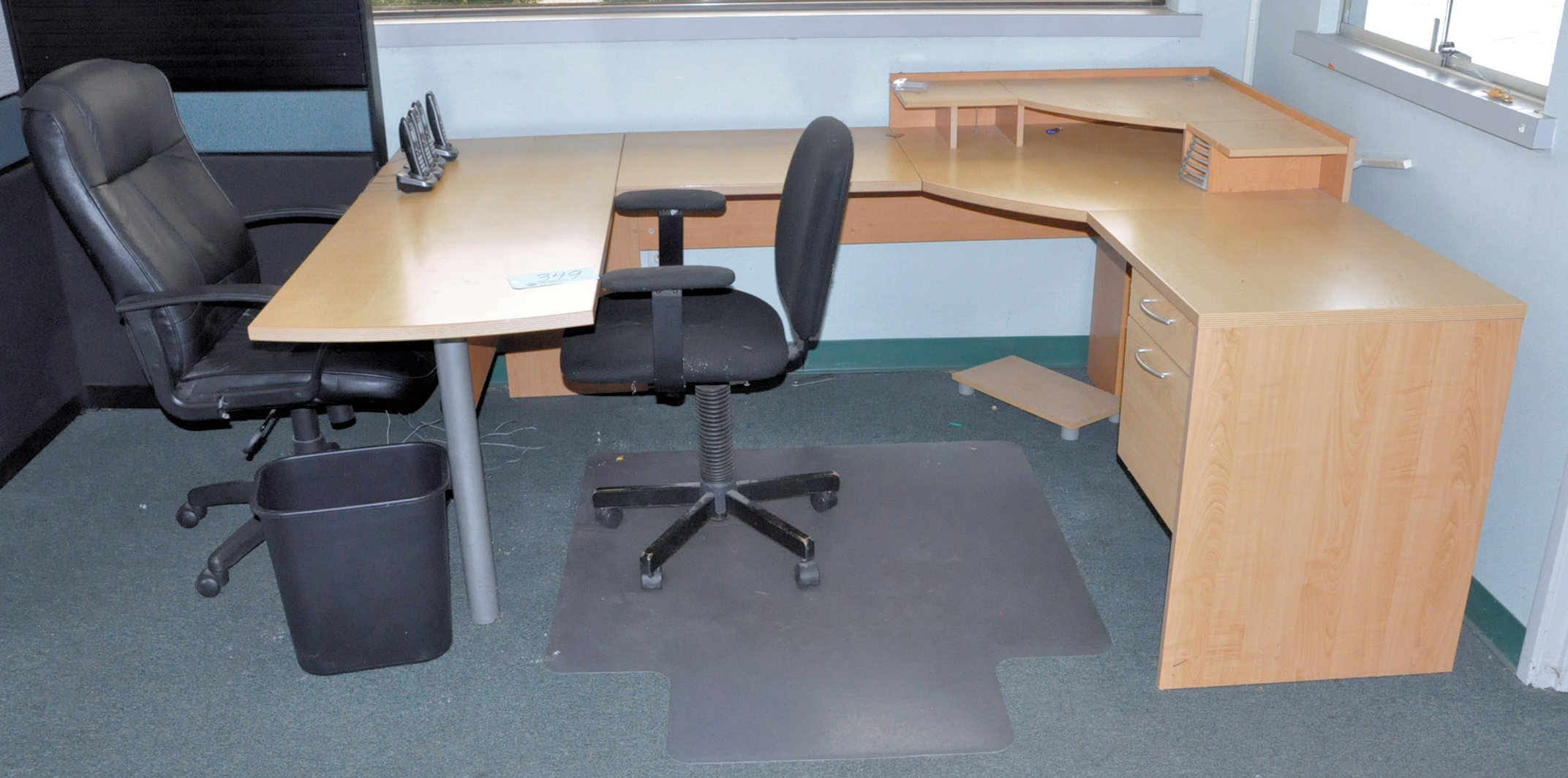 Modular Office Desk System with (2) Chairs and Lateral File Cabinet,