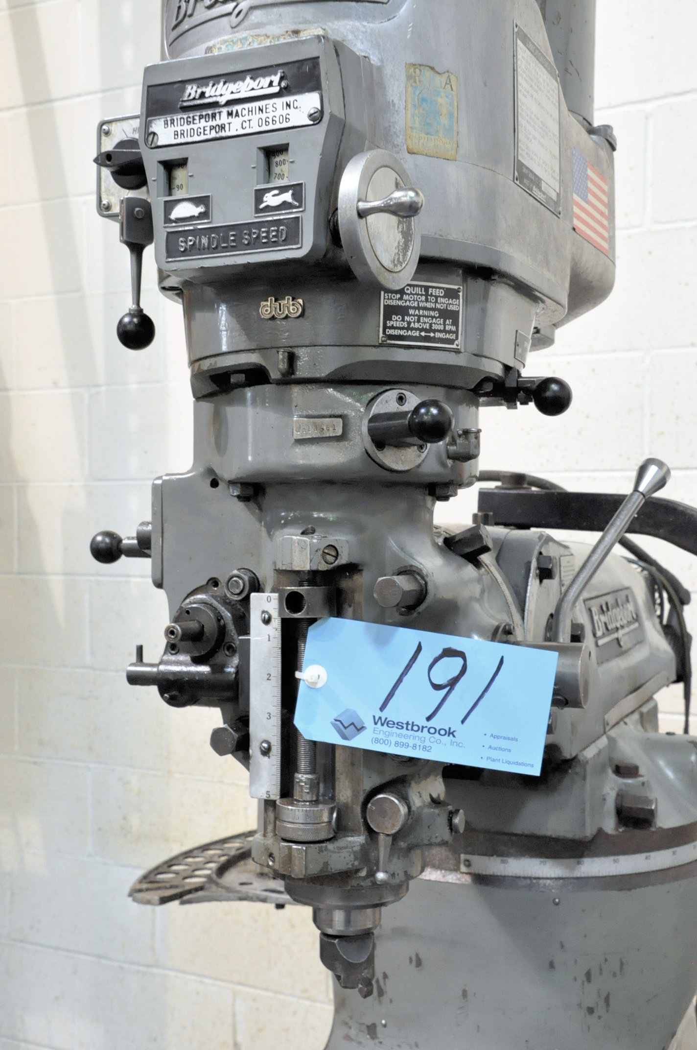Bridgeport 2-HP Variable Speed Vertical Milling Machine, 2-Axis Readouts, X, Y and Knee Powered Feed - Image 4 of 6