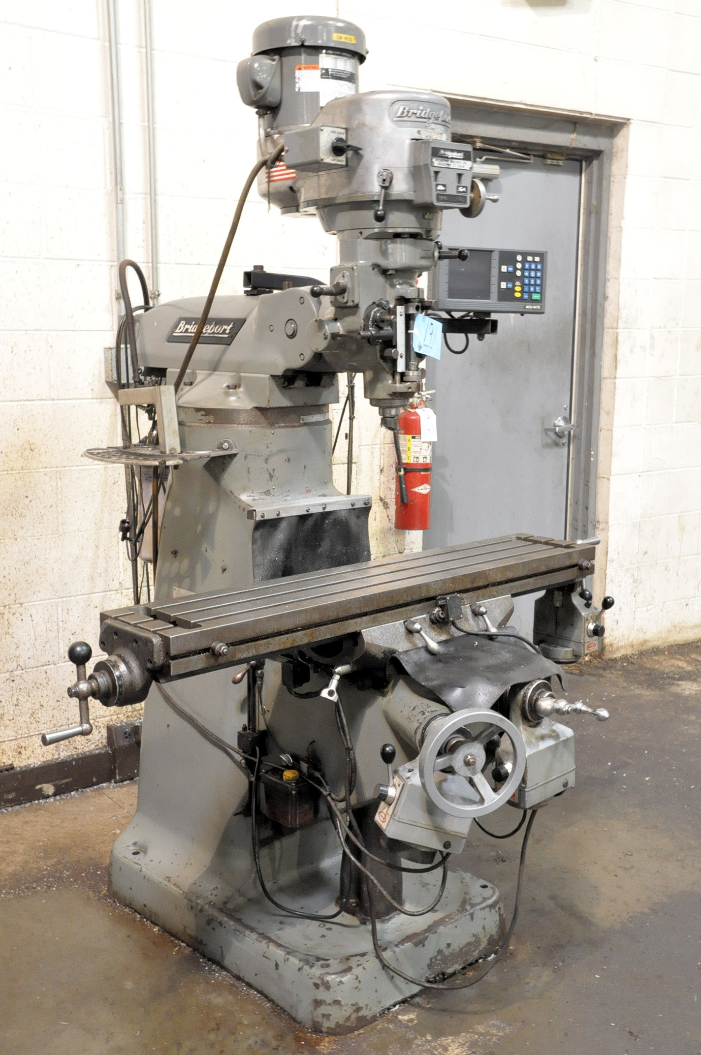 Bridgeport 2-HP Variable Speed Vertical Milling Machine, 2-Axis Readouts, X, Y and Knee Powered Feed
