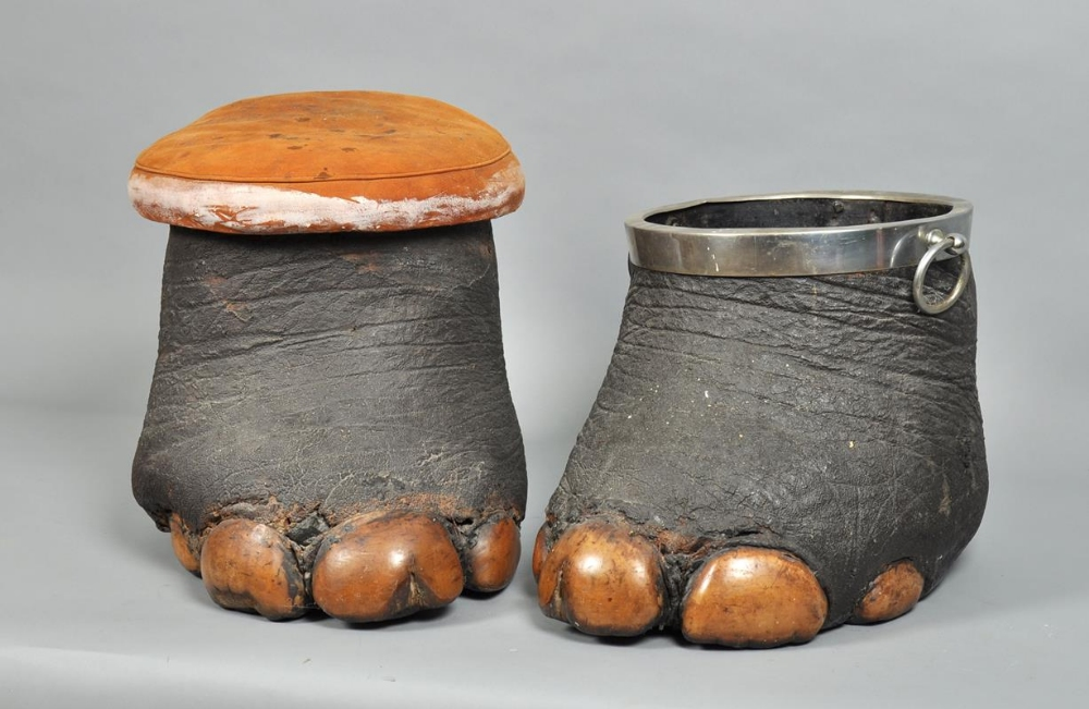 An Early 20c Elephant Foot Stool Together With A Silver